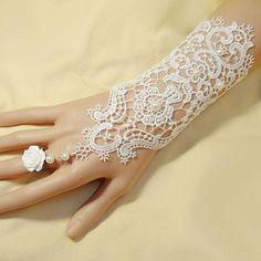 nova safra de rendas grânulos de apliques de flores de noiva, luvas de cor branca luvas de