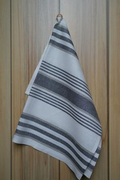 Linen towel white striped with gray grey white linen towel kitchen flax bathroom linens housewares dish cloth Linen Towels, White Towels, Cotton Towels, Tea Towels, Dish Towels, Grunge Decor, Christmas Towels, Easter Sale, Grey And White