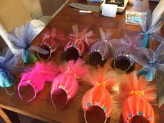 Troll party headbands for girls and hats for boys!   Very easy to make and the kids loved them! Now I'm getting requests from friends to make them for their lil ones.