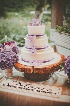 Radiant Orchid Inspired Cake #pantone #radiantorchid #wedding #bbjlinen #bbjtablefashions