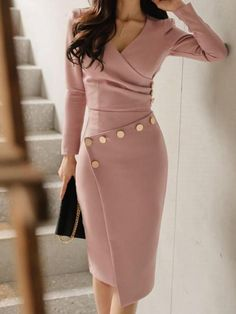 Buy Surplice Ruched Single Breasted Decorative Button Plain Bodycon Dress online with cheap prices and discover fashion Bodycon Dresses at fashionme to be fashionable now. Trend Fashion, Fashion Tips, Women's Fashion, Fashion Ideas, Fashion 2018, Classy Fashion, Winter Fashion, Feminine Fashion, Fashion Websites