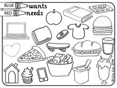 WANTS AND NEEDS ~ Simple idea to have students think about wants and needs.