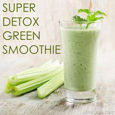Super Detox Green Smoothie 2 celery stalks, chopped 1 small cucumber, chopped 2 kale leaves 1 handful spinach Handful of fresh parsley or cilantro 1 lemon peeled 1 apple, seeded, cored and chopped
