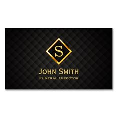 Gold Diamond Monogram Funeral Business Card