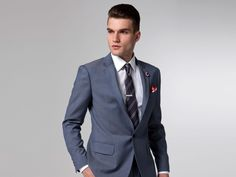 Steel blue superhero suit from Indochino