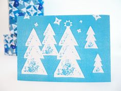 Holiday Card Block Printed Winter Pattern Seasonal Christmas Tree Scene Blue Notelet