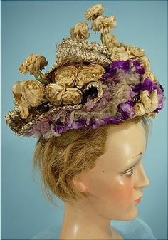 c. 1896 A. FELIX, Paris, Mushroom Colored Elaborate Woven Straw Hat with Ivory and Purple Chiffon and Silk Flowers