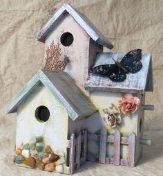 Feathered Friends Apartments Rustic Birdhouse with by theNobbyNest