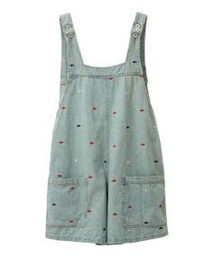 Washed Denim Bib Overalls with Fish Embroidery