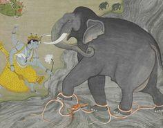 Shri Vishnu Saving the Elephant Gajendra, Pahari region, Guler, circa 1760.