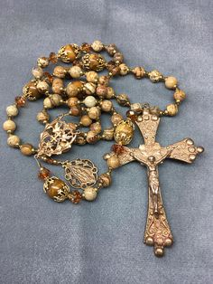 Warm Picture Jasper Rosary Unique Crucifix Bronze HeartFelt Rosaries j Rosary Beads, Prayer Beads, Catholic Store, Holy Rosary, Golden Tan, Life Is Tough, Madonna And Child, Stainless Steel Wire, Crucifix