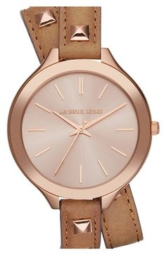 Michael Kors 'Slim Runway' Double Wrap Leather Strap Watch, 42mm available at #Nordstrom