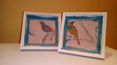 Shabby Chic Reloved Upcycled Bird Fabric Wall Art  Pair