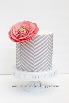 Gray Chevron Cake + Big Pink Flower = Love  #herringbone