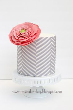 Gray Chevron Cake + Big Pink Flower = Love