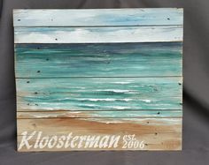 Personalized beach painting, pallet beach wall art, upcycled Reclaimd, Hand painted Seascape horizon, ocean, pallet, Distressed, shabby