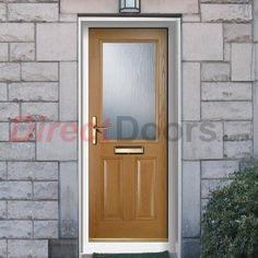 Lifestyle Image of External Simplicity Crafton Plain Composite Door, shown in Oak