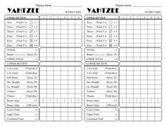 Yahtzee Score Sheets  Printable