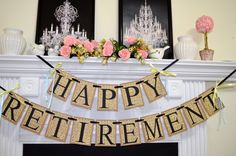 Happy Retirement Banner, Congratulations Sign, Retirement Party sign, Retirement decoration, Rustic retirement decor by DCBannerDesigns on Etsy
