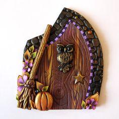Harvest Owl Fairy Door Pixie Portal Miniature Door by Claybykim