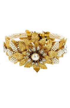 Miriam Haskell 'Legacy' Floral & Glass Pearl Hinged Cuff