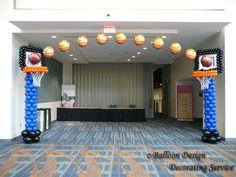 basketball+balloon+centerpieces | Basketball arch