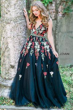 Black V-Neckline Applique Embellished Dress 41727