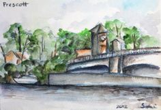 Original Watercolor Painting Prescott View from by CanotStop, $18.00