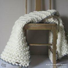 Chunky Knit Australian Merino Wool THROW by TheFlyingLambau