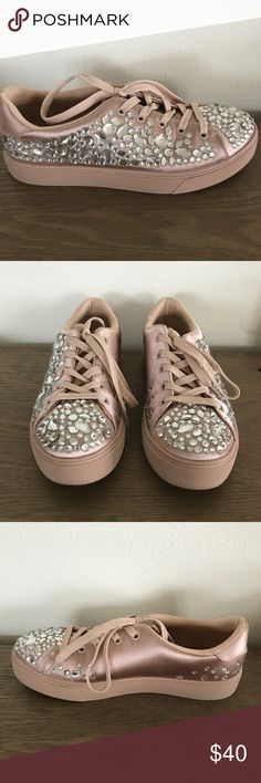 Aldo Zellina Diamanté Embellished Pink Sneakers Pastel pink sneakers with a satin finish, embellished with rhinestones. Soft cotton lining and rubber soles. Aldo Shoes Athletic Shoes