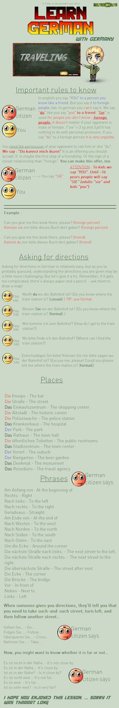 Learn German - Way directions/ causal/ formal by TaNa-Jo.deviantart.com on @DeviantArt