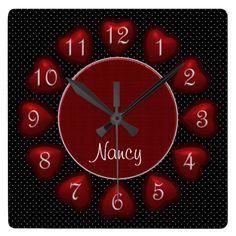 Puffed Hearts Red and Black Square Wall clock #wallclock #zazzle #hearts #polkadots