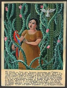 Mexican Ex-voto, Among thorns with guacamaya, signed Mexican Artists, Mexican Folk Art, Mexico Culture, Popular Art, Naive Art, 2d Art, Outsider Art, Traditional Art, Unique Art