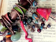 RESERVED Bohemian gypsy assemblage charm necklace of por quisnam
