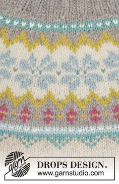"""October Dream - Knitted DROPS jumper with Norwegian pattern, round yoke and high collar in """"Nepal"""". Size S-XXXL. - Free pattern by DROPS Design Tejido Fair Isle, Punto Fair Isle, Motif Fair Isle, Fair Isle Pattern, Fair Isle Knitting Patterns, Sweater Knitting Patterns, Knitting Charts, Free Knitting, Baby Knitting"""