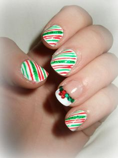 Christmas Candy Cane Nail Design by Grace Kingsley