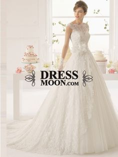 Gorgeous A-Line/Princess Sleeveless Applique Tulle Bateau Court Train Wedding Dresses - Wedding Dresses - Weddings