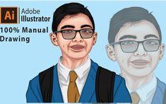 AnyTask Portrait Cartoon, Vector Portrait, Realistic Cartoons, T Race, Tv Adverts, Photoshop Illustrator, Modern Logo, That Way, Line Art