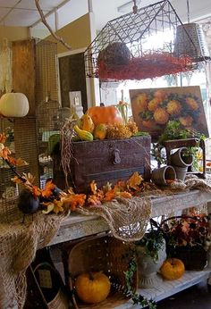 fall display in shop