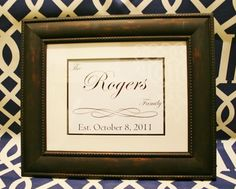 DIY Christmas present for newlyweds. Design the words and then pick up an already matted frame. So easy and heartfelt!