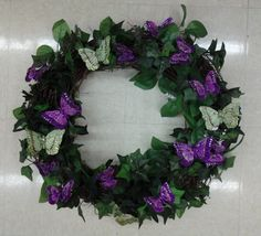 Floral Design, Spring Purple/Green Butterfly Wreath, 2014, by Renee Corbin: Michael's of Waynesville, NC