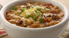 Cheesy Chorizo Mexican Chili - cannellini beans + chorizo sausage + green chiles + spices and lots of other yummy ingredients make this delicious soup.