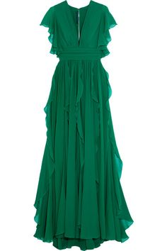 Emerald silk-blend georgette Hook and zip fastening at back  91% silk, 9% polyamide; lining: 100% silk Dry clean  Imported