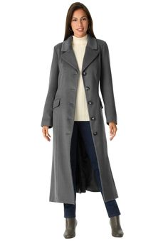 "Our single-breasted plus size long coat is a true fit classic that will keep you warm and fashionable when you need to bundle up. Side flap pockets and back walking vent.  in a timeless straight fit for everyday polish 49"" length creates a tall, sophisticated silhouette expertly tailored notched collar designed to fit and lay perfectly long sleeves fit effortlessly over tops & sweaters fully lined wool blended with polyester dry clean; imported  Long coat in sizes 12, 14, 16, 18, 20, 22, 24…"