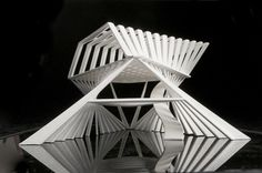 I was interested in transforming between triangular and rectangular floor-plans. The result was a three-floor steel reinforced structure. No floors or windows. Each structural member is meant to represent the materially efficient response to both. Triangular Architecture, Architecture Design, Architecture Models, Pavilion Architecture, Arch Model, Baltic Birch Plywood, Conceptual Design, Beautiful Buildings, Design Model