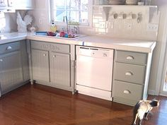 Painting Oak Cabinets White and Gray - Remodelaholic | Remodelaholic