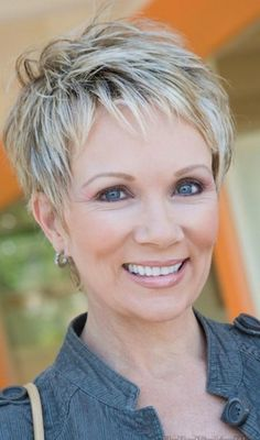 Hairstyles For Women Over 50 - Short Crop With Highlights