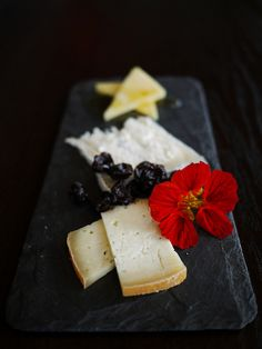beautiful cheese plate with lavender honey and dried fruit