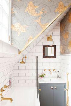 Grey, white and brass bathroom. Osborne & Little Koi Carp wallpaper, Barber Wilson brass taps, Anthropologie mother-of-pearl cabinet knobs