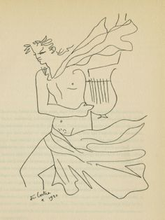 """Orpheus - From: """"Demarches d'un poète"""", 1930 Orpheus is a artistically talented, he sings and plays the lyre throughout Metamorphoses. Illustrations, Illustration Art, Greek Gods And Goddesses, Jean Cocteau, Black And White Abstract, Gay Art, French Artists, Line Drawing, Line Art"""